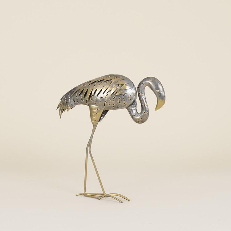 17-009 Silver Metal Flamingo