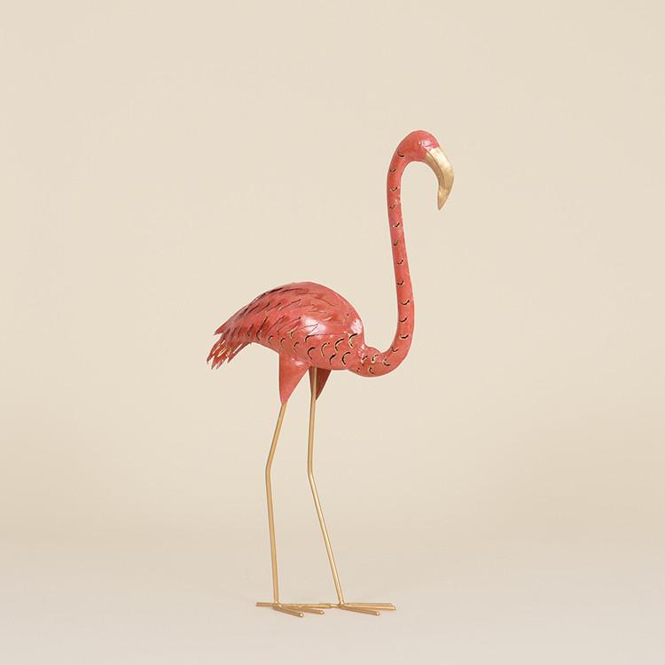 17-011 Floor Standing Metal Flamingo