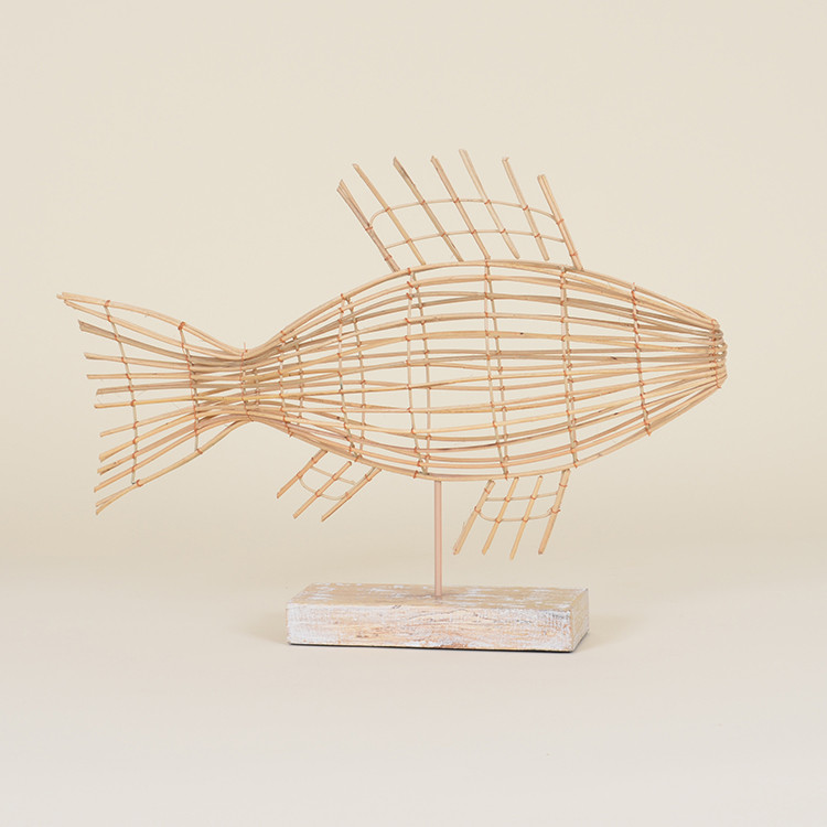 17-054 Large Reed Cage Fish on Stand
