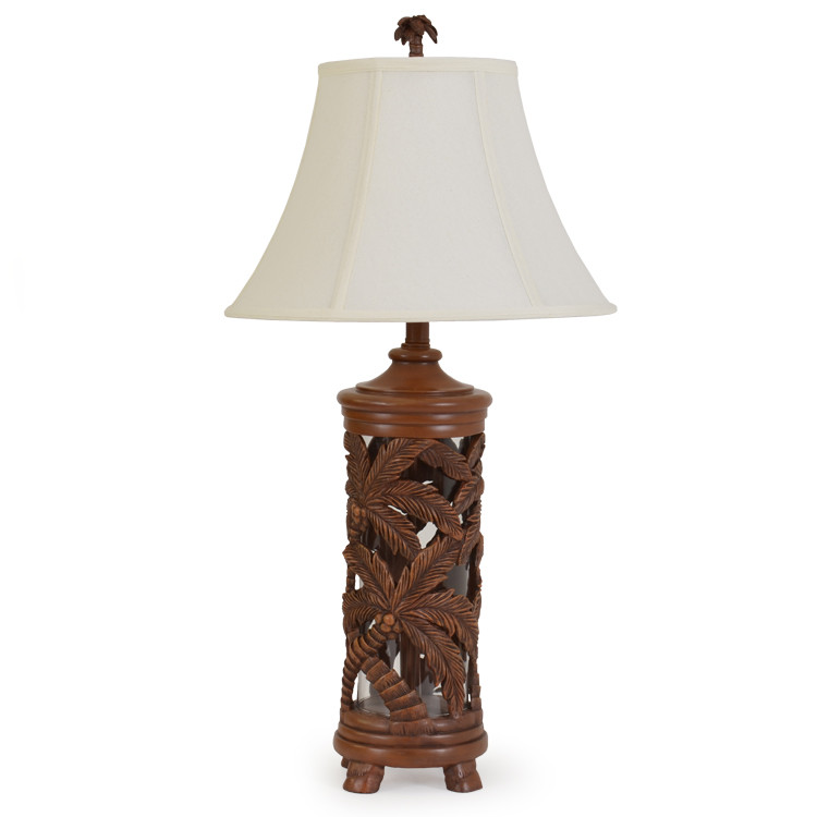 291TL Palms Over Glass Table Lamp W/Nightlight