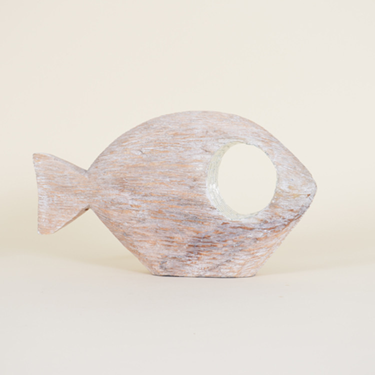 16-032 Small Whitewashed Abstract Fish With Mirrored Mosaic Eye