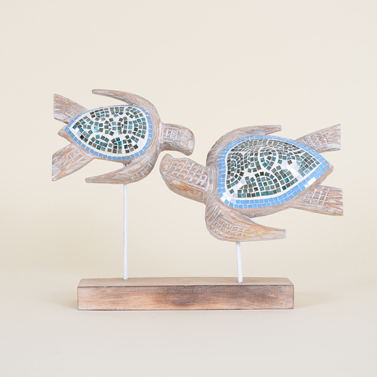 16-100  Whitewashed Wooden Mosaic Sea Turtles On Stand