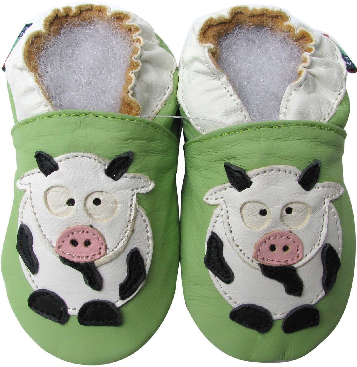 shoeszoo cow green 0-6m S soft sole leather baby shoes