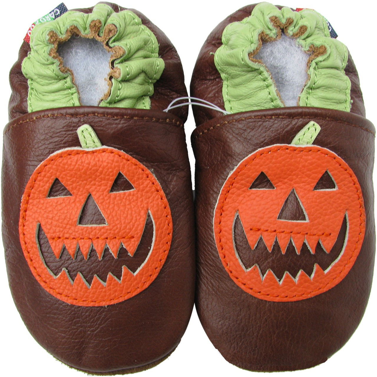 44ba568193577 carozoo pumpkin brown 0-6m soft sole leather baby shoes