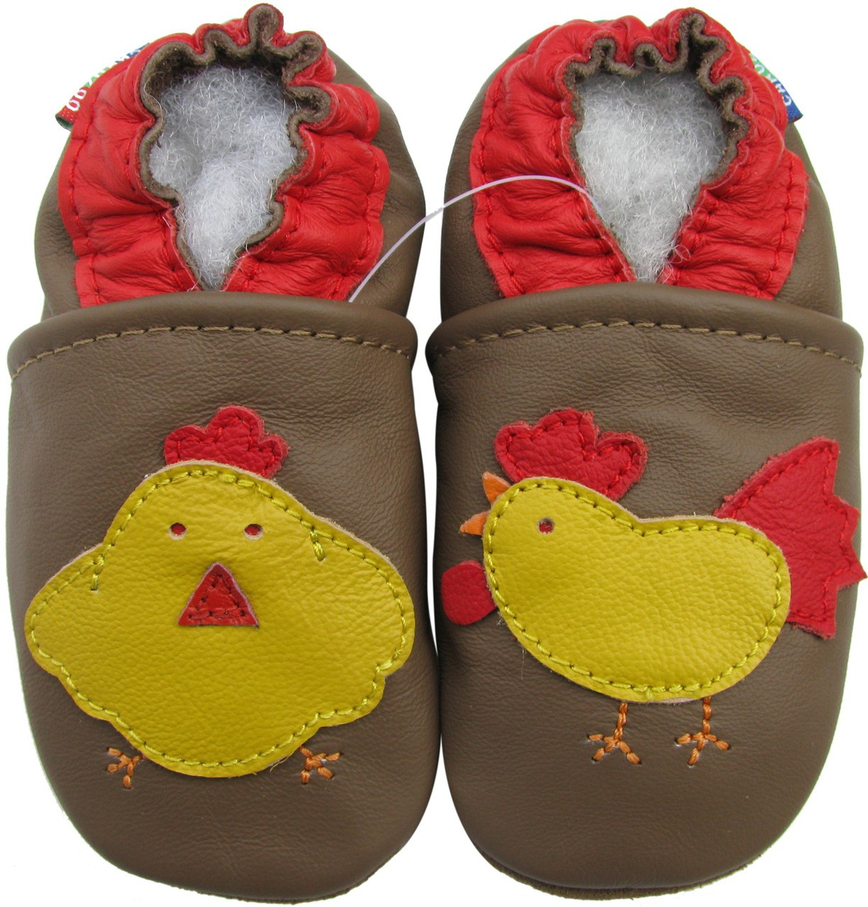49fd85126ebf carozoo rooster hen brown 0-6m soft sole leather infant baby shoes -  Shoeszoo