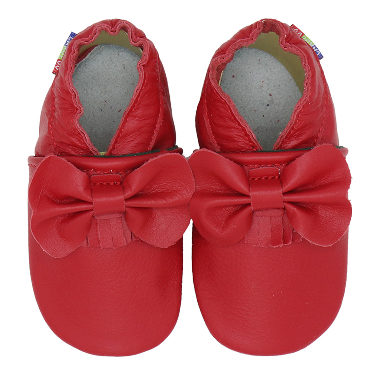 Bow Fringe Red soft sole leather baby