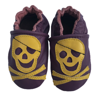 shoeszoo (carozoo) soft leather infant baby shoes pirate purple 0-6m
