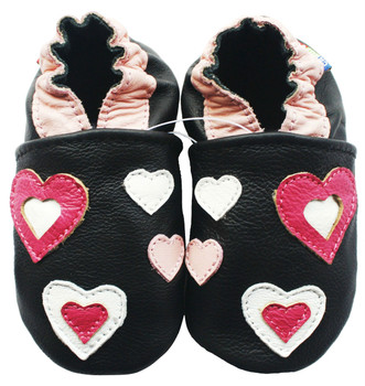 Carozoo Soft Sole Leather Baby Shoes Pink Hearts Black