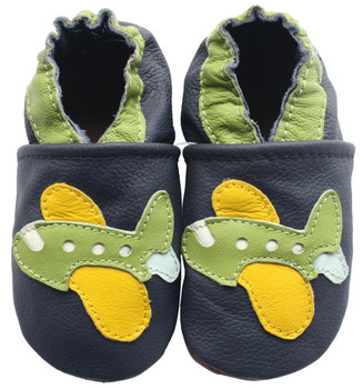 Carozoo Soft Sole Leather Baby Shoes Green Airplane Dark Blue