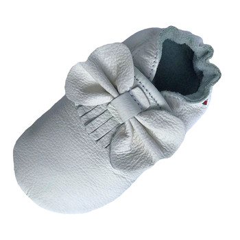 carozoo Bow Fringe White soft sole leather baby/infant shoes up to 2 Years Old