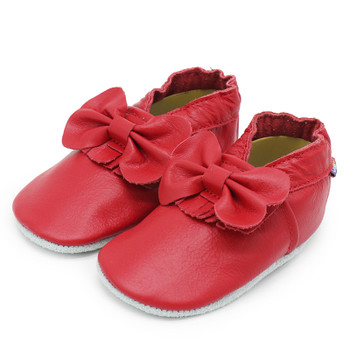 Bow Fringe Red soft sole leather baby/infant shoes up to 2 Years Old