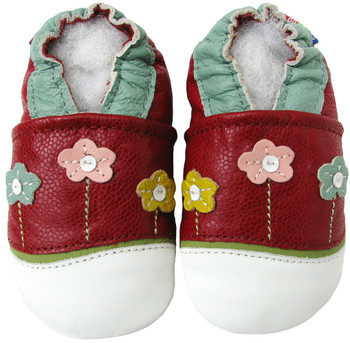 Little Flower Red outdoor shoes up to 4 Years Rubber Sole Genuine Leather