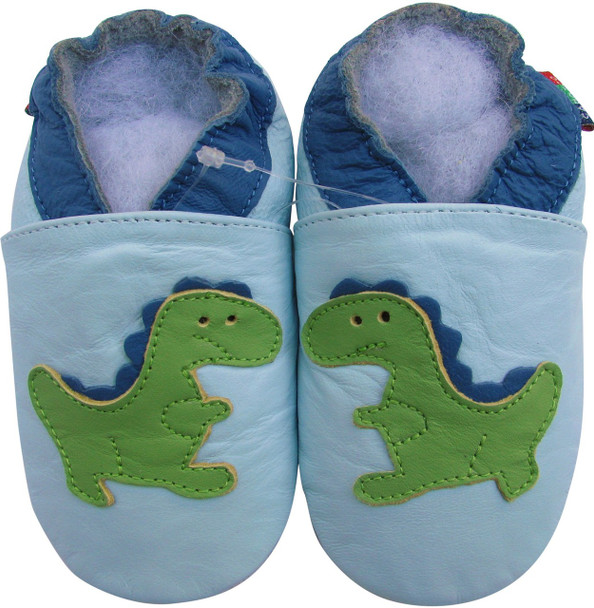 shoeszoo dino light blue 0-6m S soft sole leather baby shoes