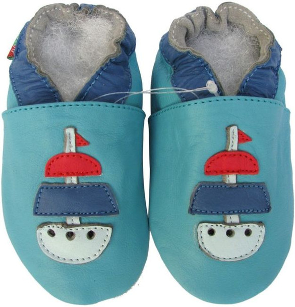 shoeszoo sailboat turquoise 0-6m S soft sole leather baby shoes