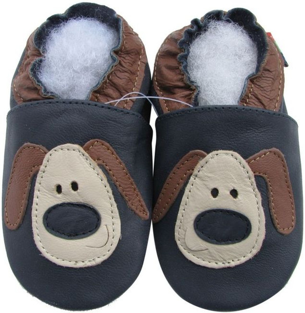 shoeszoo puppy dark blue 0-6m S soft sole leather infant baby shoes