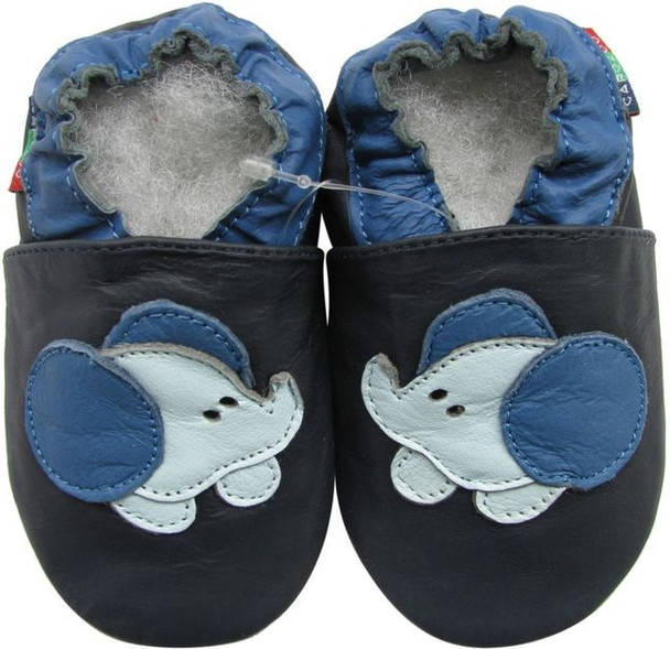 shoeszoo baby elephant dark blue 0-6m S soft sole leather baby shoes