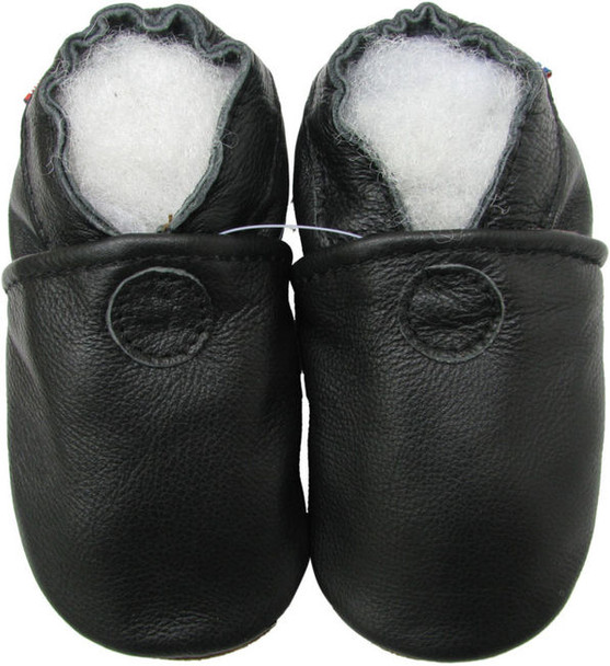 carozoo solid black 6-12m soft sole leather baby shoes