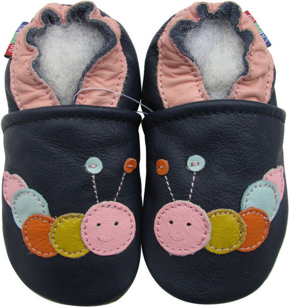 carozoo caterpillar dark blue 12-18m soft sole leather baby shoes