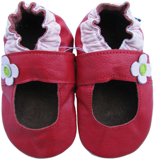 carozoo Mary Jane red 12-18m soft sole leather baby shoes
