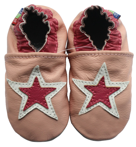 Carozoo Soft Sole Leather Baby Shoes Double Stars Pink