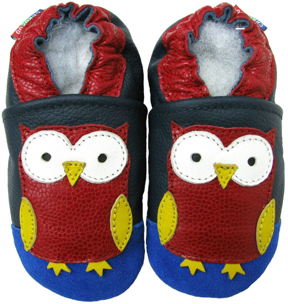 Carozoo Soft Sole Leather Baby, Infant, Newborn Shoes Owl Dark Blue