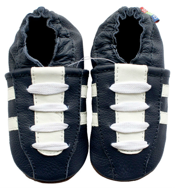 carozoo sneakers dark blue 12-18m soft sole leather baby shoes