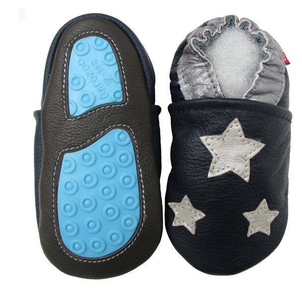 Silver Star Dark Blue outdoor shoes up to 4 Years Rubber Sole Genuine Leather