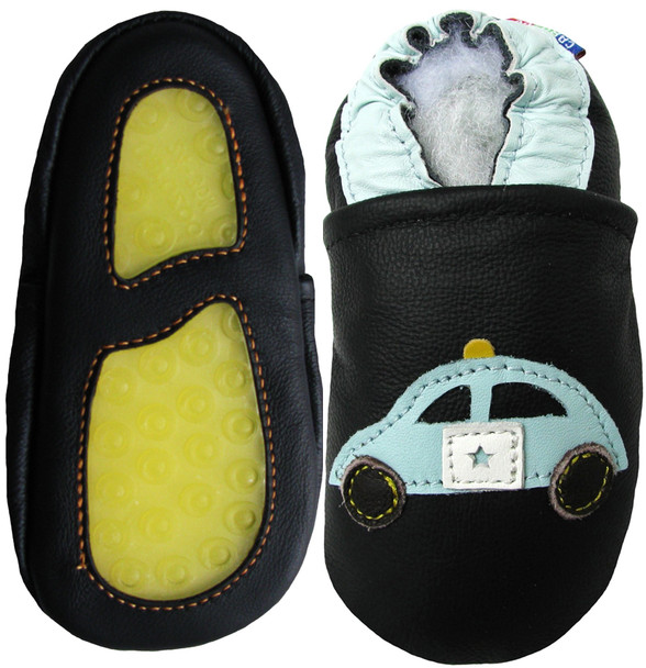 Police Car Black outdoor shoes up to 4 Years Rubber Sole Genuine Leather Baby Toddlers Kids