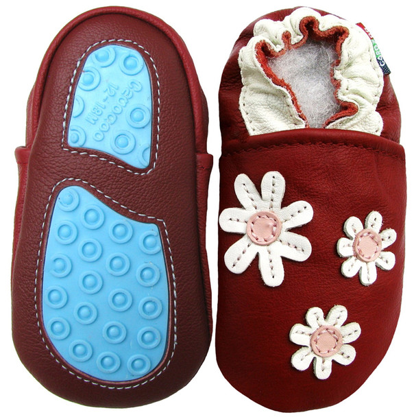 3 Flower Dard  Red outdoor shoes up to 4 Years Rubber Sole Genuine Leather Baby Toddlers Kids