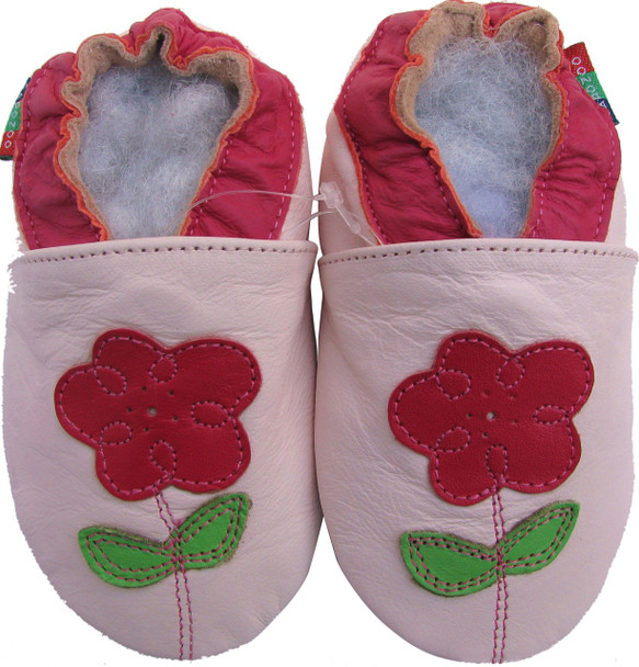 shoeszoo flower leaf light pink 12-18m S soft sole leather baby shoes