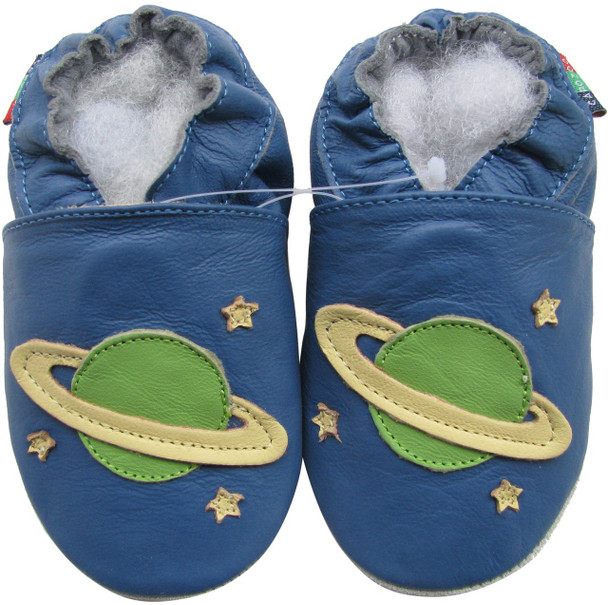 shoeszoo planet blue 6-12m S soft sole leather baby shoes