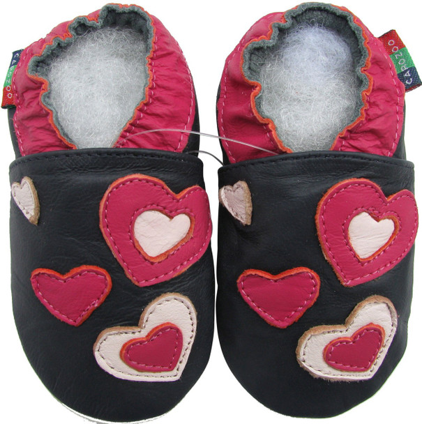 shoeszoo hearts dark blue 0-6m S soft sole leather baby shoes