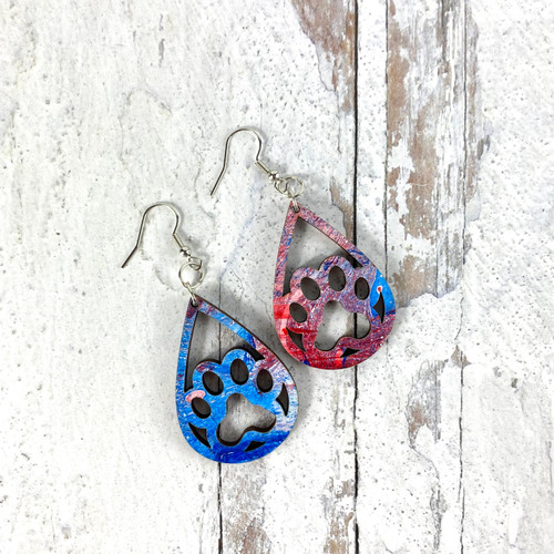 Open Pawprint Patriotic Swirl Drop Earrings