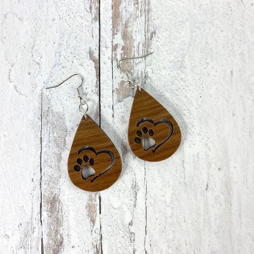 Pawprint Heart Drop Earrings
