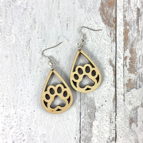 Open Pawprint Drop Earrings