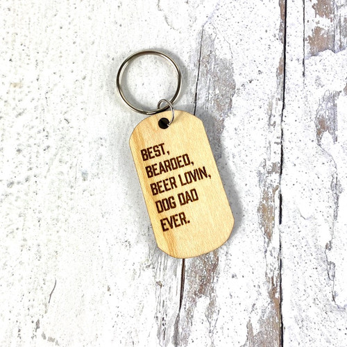 Best Bearded Beer Lovin Dog Dad Keychain