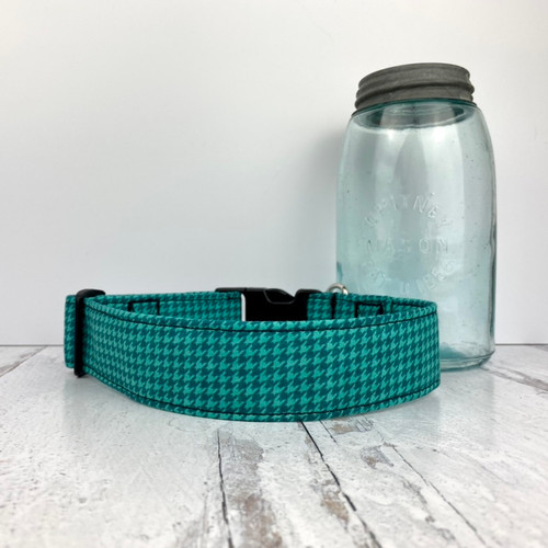 Teal Houndstooth Dog Collar