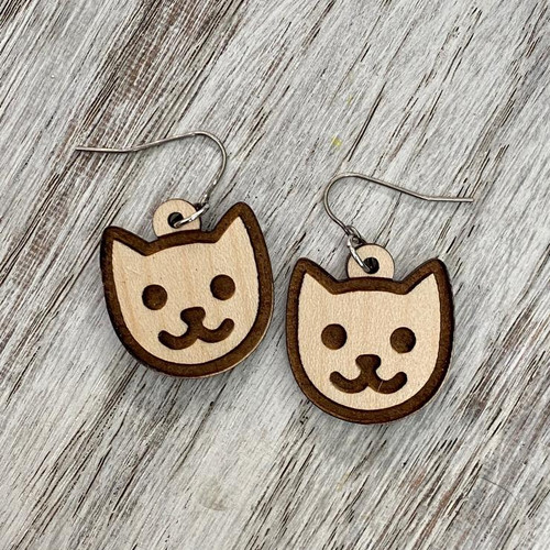 Cat Face Drop Earrings