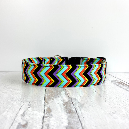 Crazy Chevron Black Dog Collar