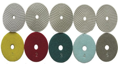 Diamond Resin Five Step Polishing Pads  Wet/Dry 125mm