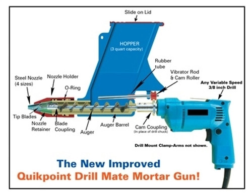Quikpoint Repointing and Grouting Gun with Metabo 18volt Cordless Drill. Includes 2 x 2.AH Batteries