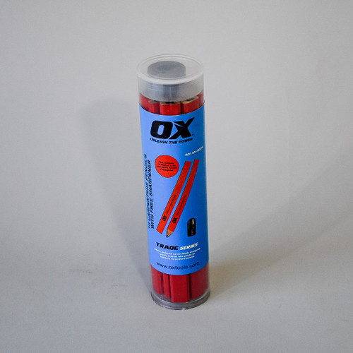OX - 10 pack carpenter pencils with sharpener (Red - Medium)