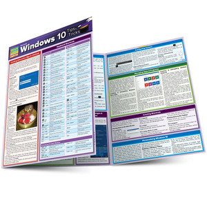 QuickStudy Quick Study Microsoft Windows 10 Tips Tricks Laminated Reference Guide Main Image