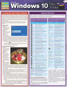 QuickStudy Quick Study Microsoft Windows 10 Tips Tricks Laminated Reference Guide Front Image