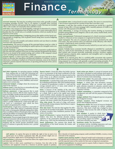 Quick Study QuickStudy Finance Terminology Laminated Study Guide BarCharts Publishing Business Guide Cover Image