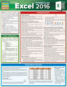 QuickStudy | Excel 2016 Formulas Laminated Reference Guide