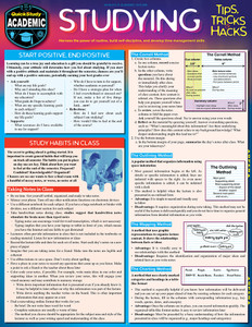 QuickStudy Quick Study Studying: Tips, Tricks & Hacks Laminated Reference Guide Front mage
