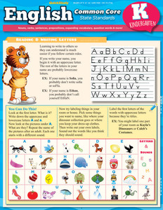 Quick Study QuickStudy English: Common Core, Kindergarten Laminated Study Guide BarCharts Publishing Education Reference Guide Cover Image