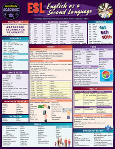 Quick Study QuickStudy ESL (English as a Second Language) Laminated Study Guide BarCharts Publishing Foreign Language Reference Cover Image