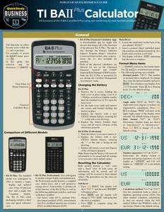 QuickStudy | TI BA II Plus Calculator Laminated Reference Guide